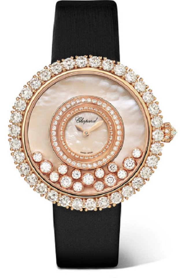 Chopard Happy Dreams 36 satin, 18-karat rose gold, diamond and mother-of-pearl watch available on Net-A-Porter for ,800