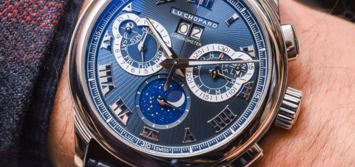 Chopard L.U.C Perpetual Chronograph Watch In Platinum With Blue Dial Hands-On Hands-On